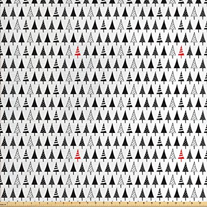Amazon.com: Ambesonne Christmas Fabric by The Yard, Sharp Triangle ...