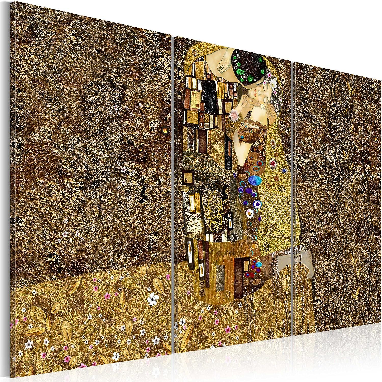 murando - Cuadro en Lienzo 120x80 - Abstracto - Impresión de 3 Piezas Material Tejido no Tejido Impresión Artística Imagen Gráfica Decoracion de Pared - Gustav Klimt Beso l-A-0003-b-f