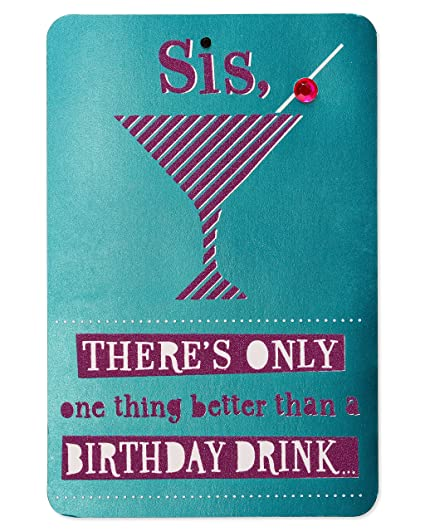 Amazon Birthday Drink Birthday Card For Sister With Glitter