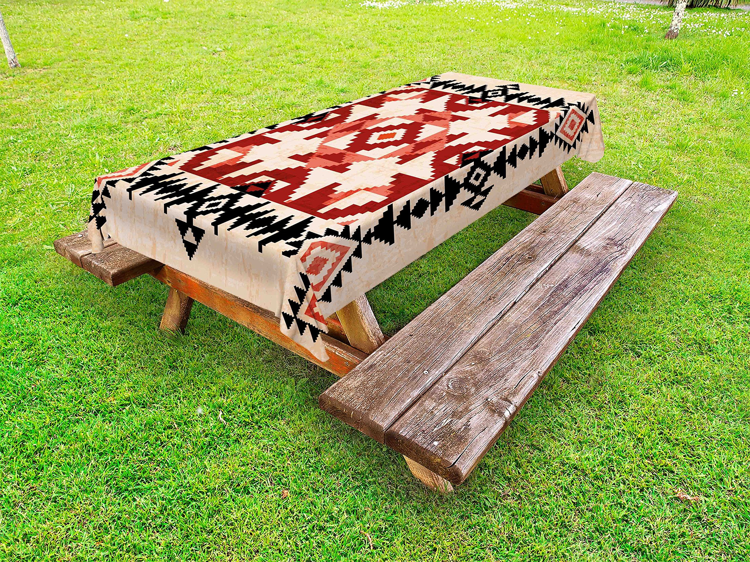 Lunarable Geometric Outdoor Tablecloth, Ethnic Pattern with Rhombuses Squares Ornamental Native American Design, Decorative Washable Picnic Table Cloth, 58 X 84 Inches, Peach Black Ruby
