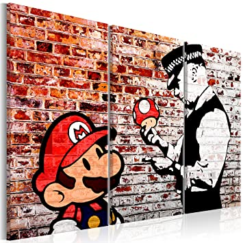 Bild Bilder Wandbild XXL 120x80 Super Mario Banksy Kunstdruck Leinwand aus Vlies