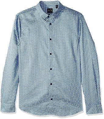 0f0e202520 A|X Armani Exchange Men's Long Sleeve Print Shirt, Stripe Square Navy, ...