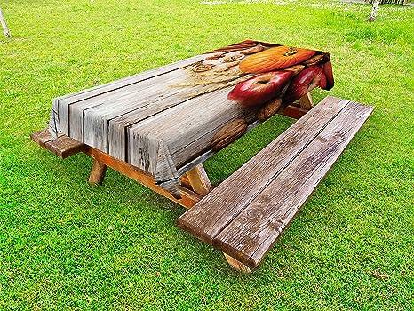 Amazon.com: Lunarable Fruits Outdoor Tablecloth, Wood ...