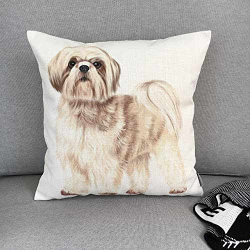 Amazoncom Shih Tzu Pillow Case Cushion Cover With Doggy Print Is
