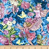 Fat Quarter Periwinkle Flower Fairy Quilting Cotton Sewing Fabric