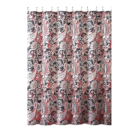 Elegant Gray Pink Taupe Fabric Shower Curtain Large Floral Paisley Print Design 72quot
