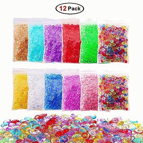 12 Pack perlas de 17 onzas pecera para crujientes Slime Making, colorido perlas de Pecera