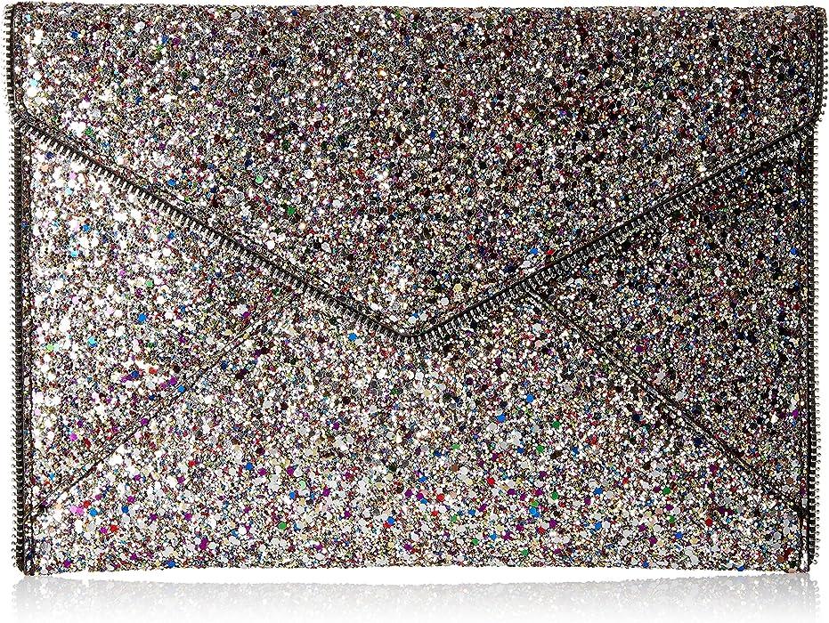 81b75400c Amazon.com: Rebecca Minkoff Glitter Leo Clutch, Silver/multi: Clothing