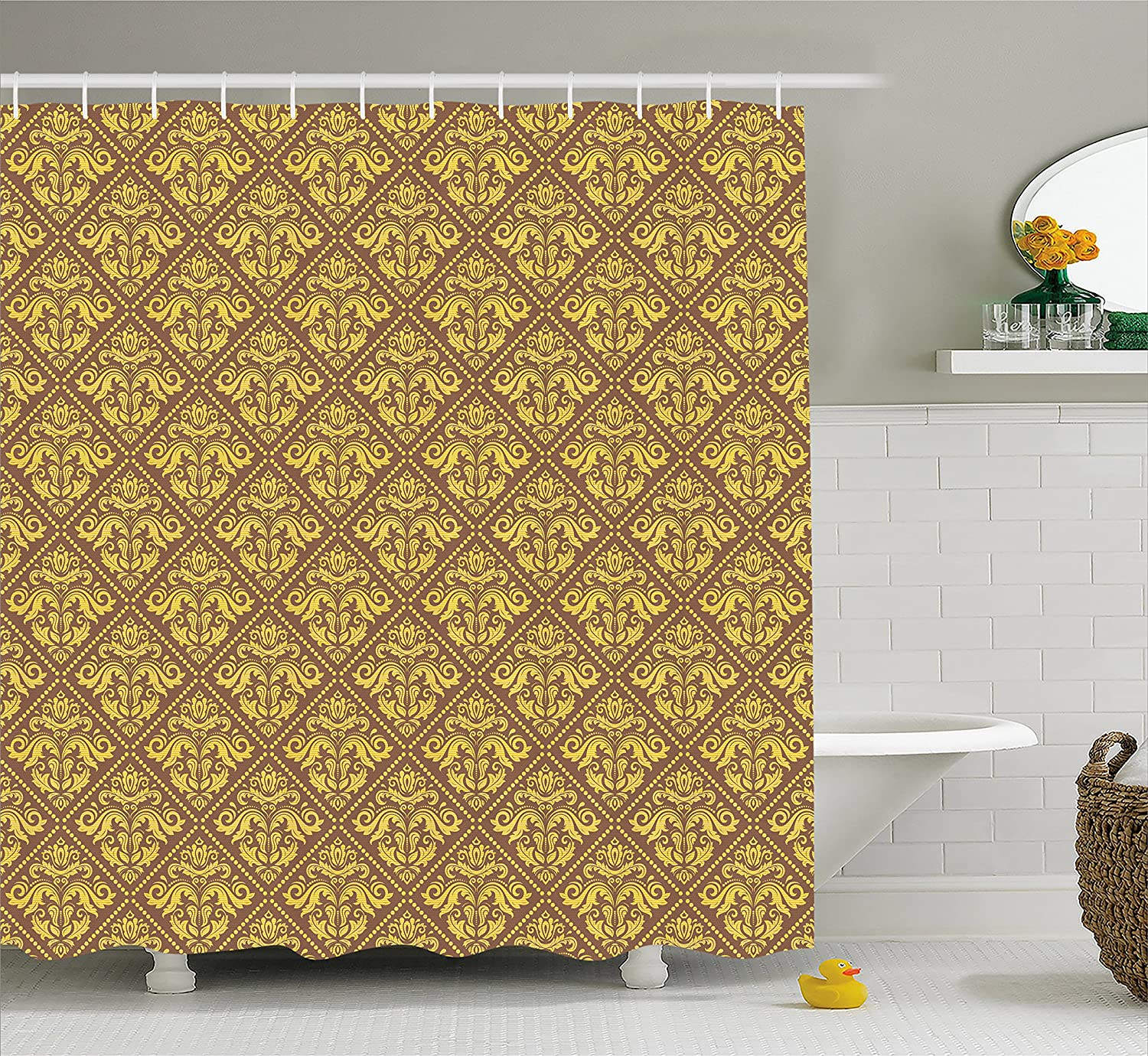 Amazon.com: Yellow and Brown Shower Curtain by Lunarable, Oriental ...