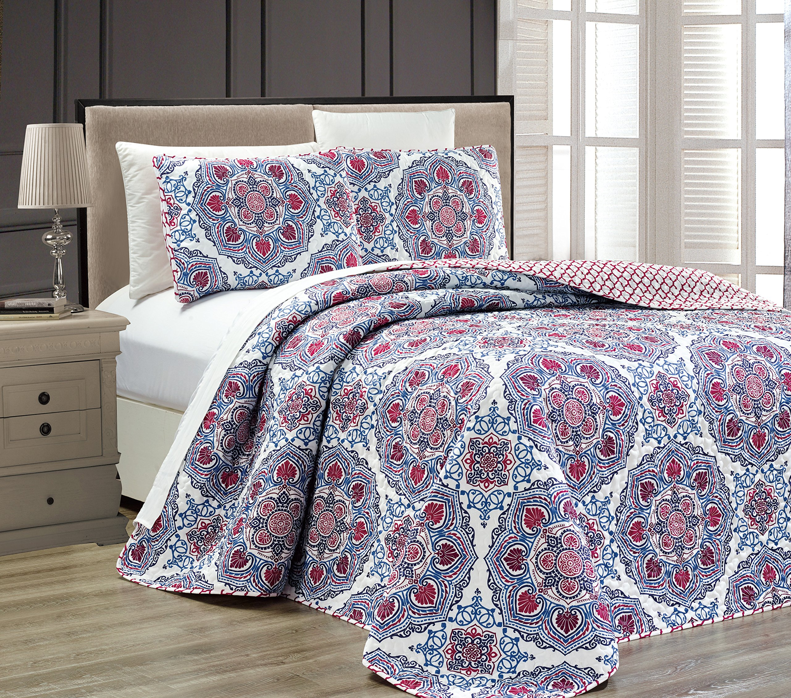 Fancy Collection 3 pc Bedspread Bed Cover Modern Reversible White Red Burgundy Navy Blue Light Blue New # Linda Red (Full/Queen) by Fancy Linen (Image #1)
