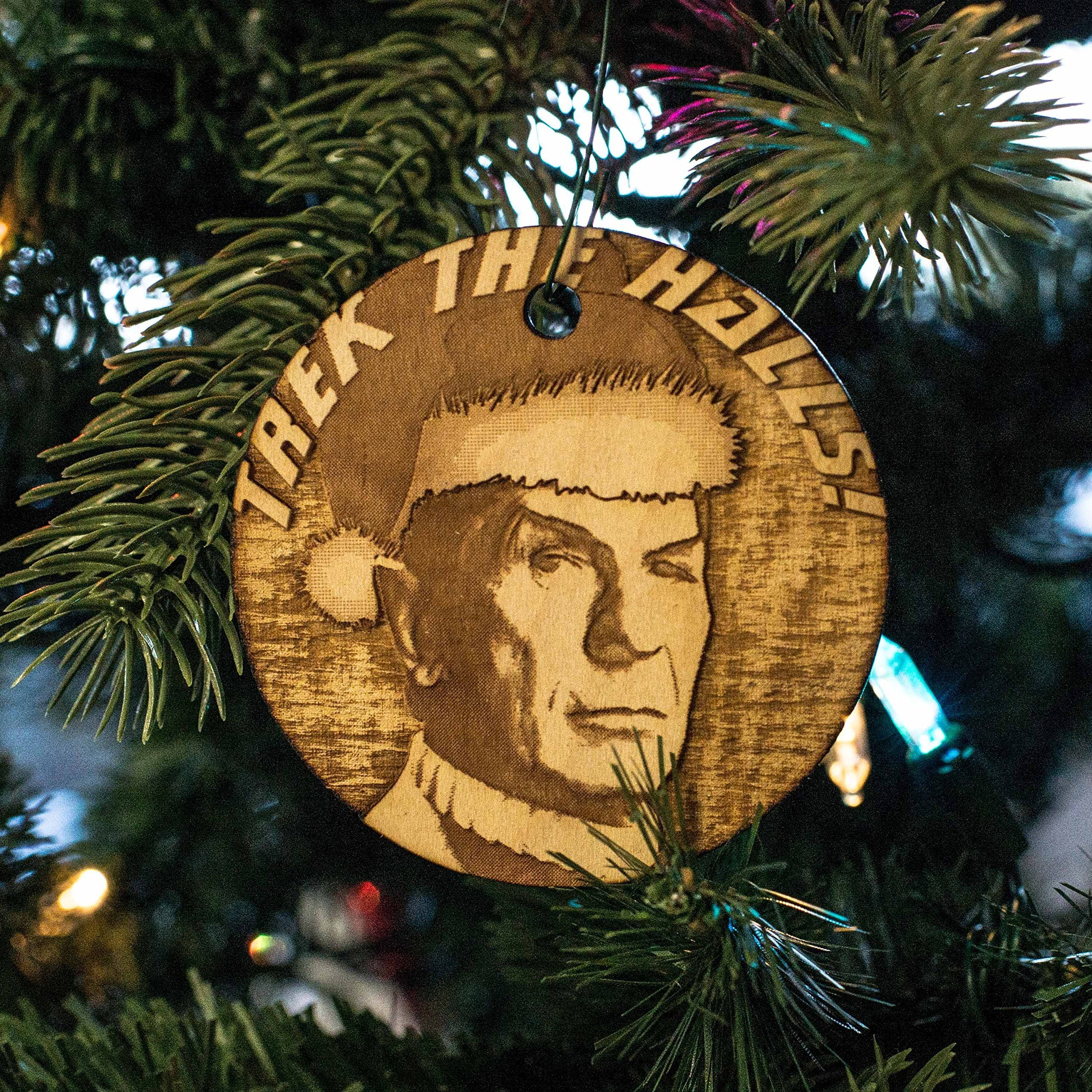 Ornament - Trek the Halls - Raw Wood 3x3in