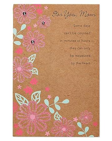 Geburtstagskarte Schreiben Mama.Pink Floral Geburtstagskarte Fur Mama Mit Glitzer Amazon De