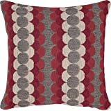 "Rivet Mid-Century Modern Circle Striped Throw Pillow, 17"" x 17"", Red And White"