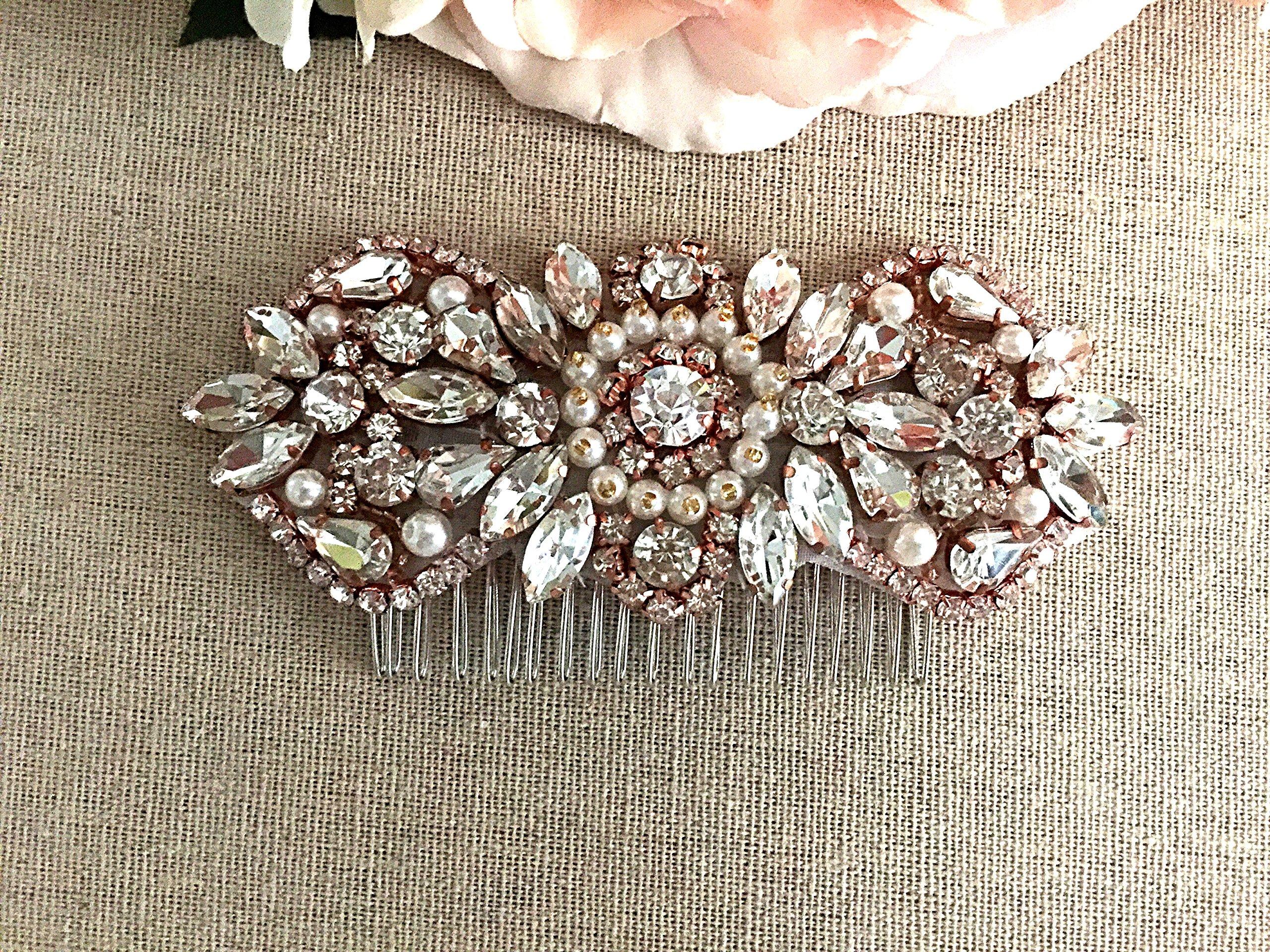 Rose Gold Bridal Comb, Bridal Hair Piece, Rhinestone Bridal Comb