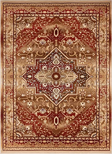 Well Woven Tribal Elegance Red Modern Persian Medallion 8×11 7 10 x 9 10 Area Rug Vintage Faded Oriental Erased Carpet