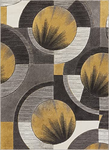 Well Woven Gold Yolo Modern Abstract Geometric 7'10″ x 9'10″ Area Rug