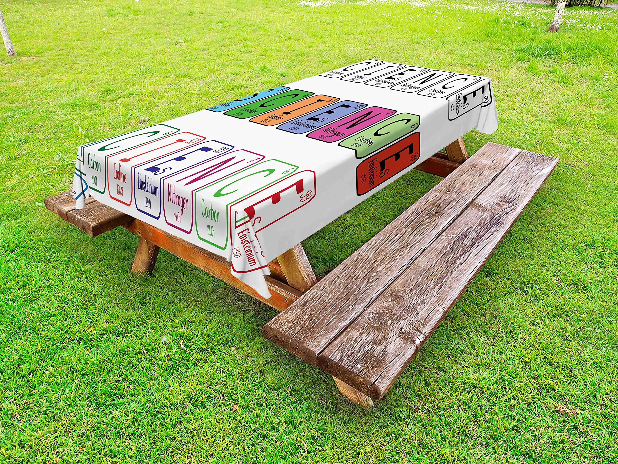Ambesonne Periodic Table Outdoor Tablecloth, Science Letterings with Capital Elements School Students Chemistry Lovers, Decorative Washable Picnic Table Cloth, 58 X 104 inches, Multicolor