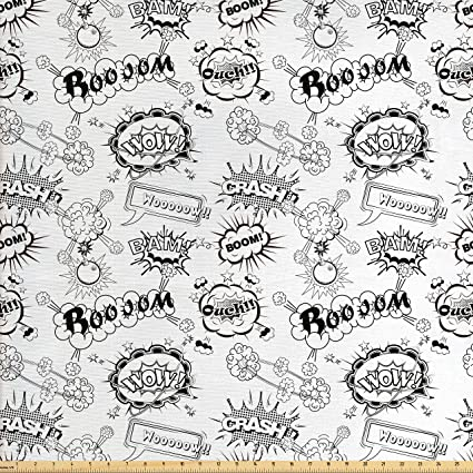 amazon com lunarable sketch fabric by the yard pattern with comic