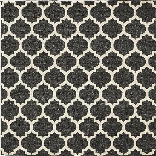 Unique Loom Trellis Collection Moroccan Lattice Black Square Rug 8 0 x 8 0