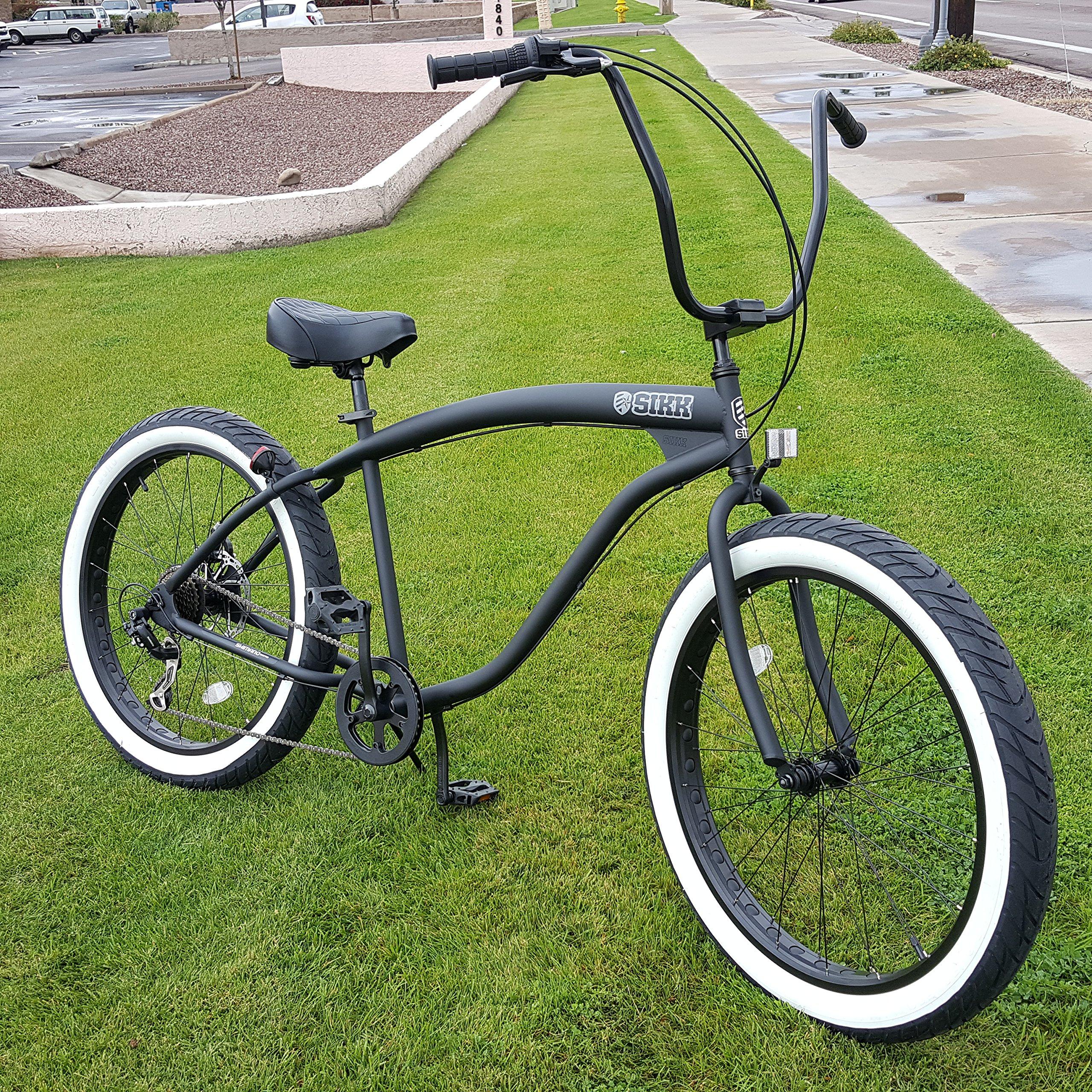 Sikk 3 0 Wide Ride Beach Cruiser Bicycle 7 Speed Flat Black