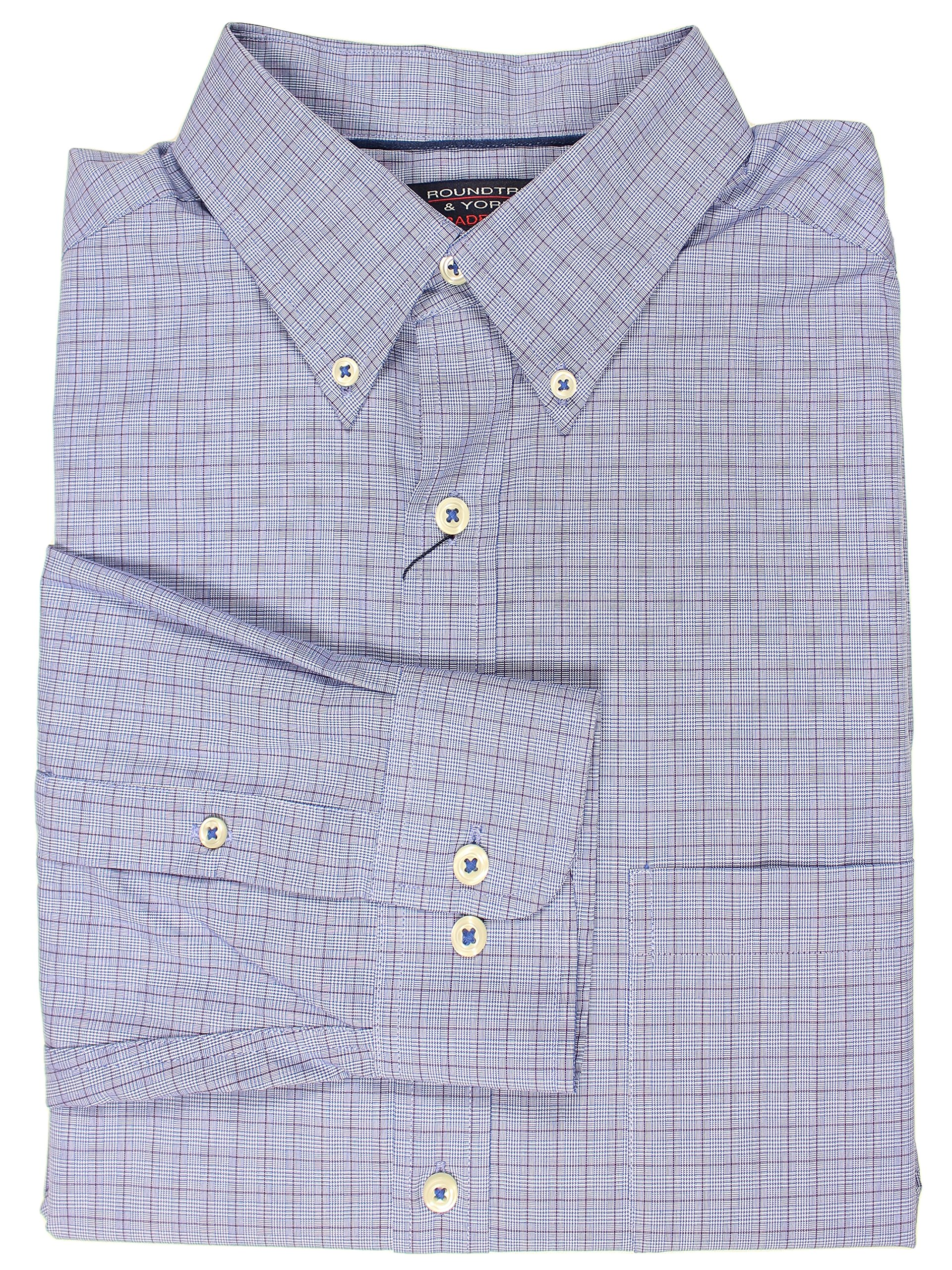Roundtree & Yorke Trademark Collection Woven Cotton Mens Big & Tall Long Sleeve Shirt (Lt Blue/Burgundy Fine Plaid, 3X Tall)