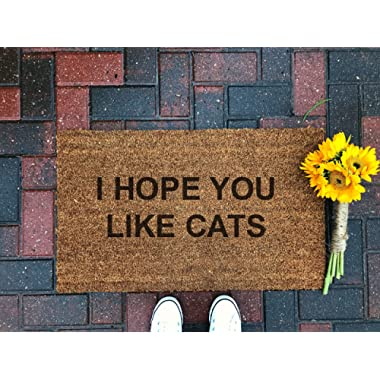 I Hope You Like Cats Doormat/Funny Doormat/Cat Mat/Welcome Mat/Outdoor Rug/Front Porch Decor/Door Decor/Housewarming