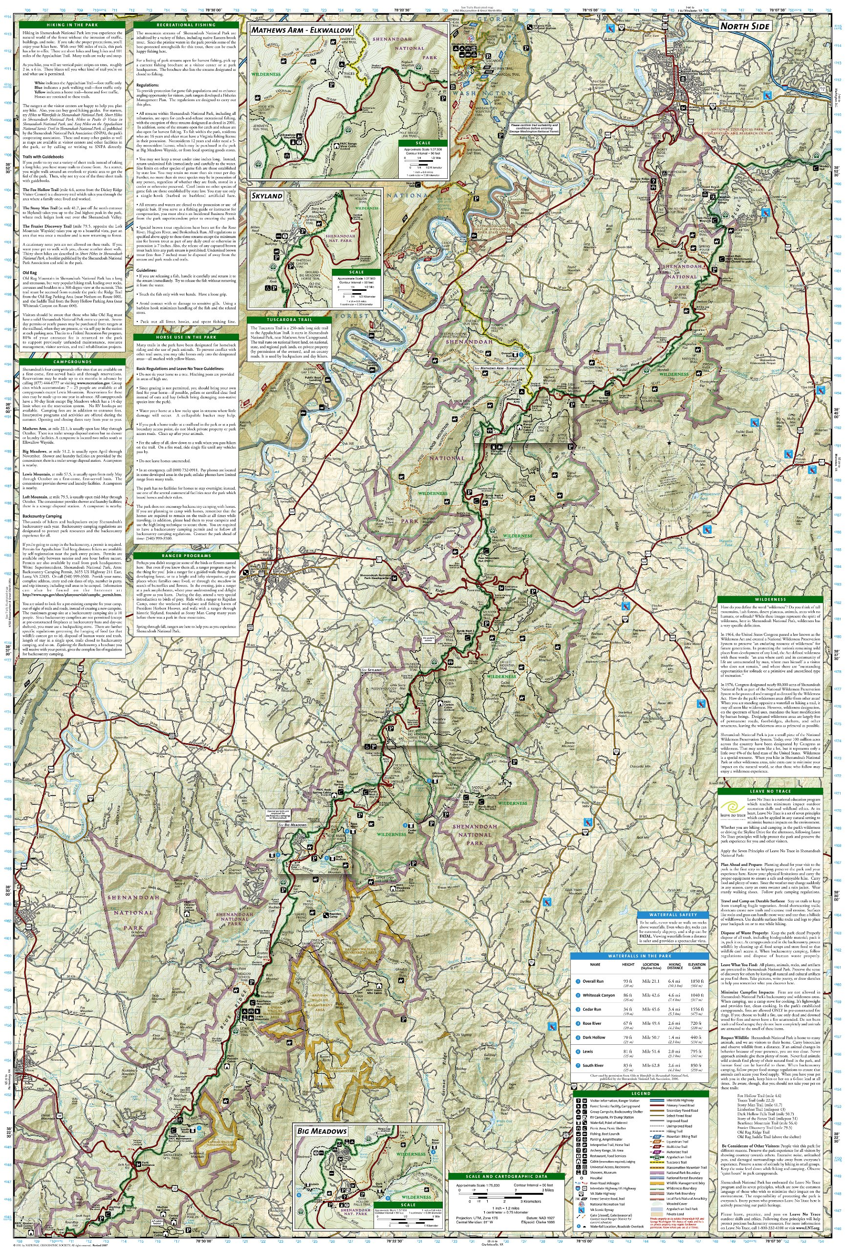 Shenandoah National Park National Geographic Trails Illustrated Map