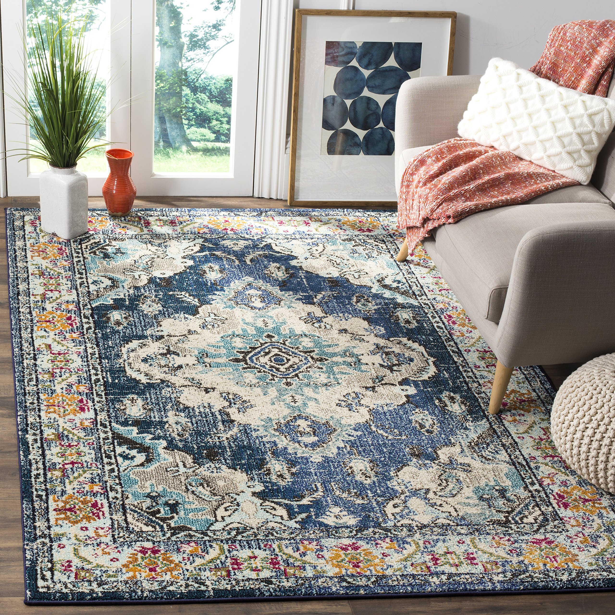 Safavieh Monaco Collection MNC243N Vintage Bohemian Navy and Light Blue Distressed Area Rug (10' x 14')