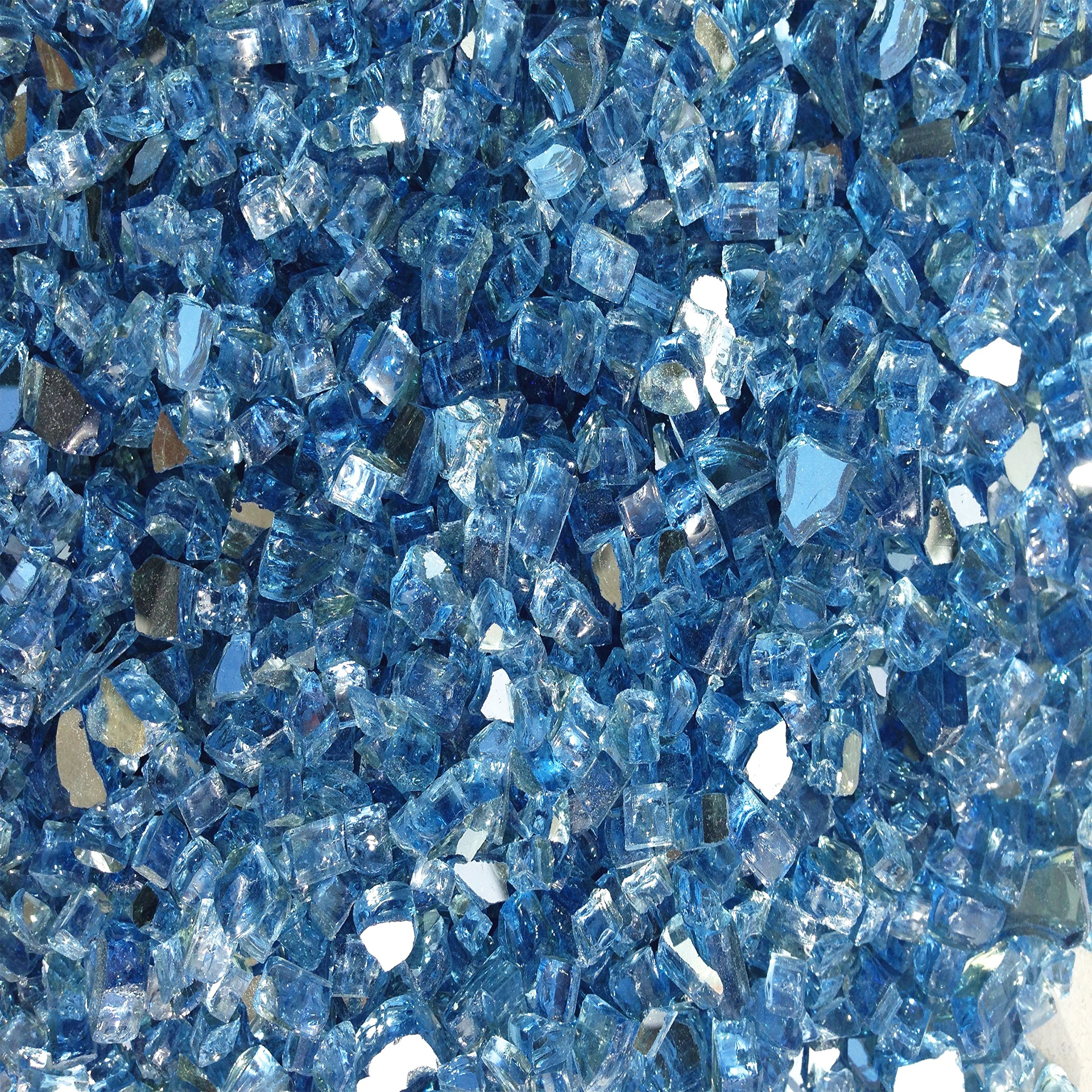 Pacific Blue Reflective 1/4'' Fire Pit Fire Glass 10lbs