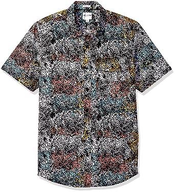23ccf6e6500a GUESS Men's Painterly Print Shirt, Painterly Jet Black, XL at Amazon ...