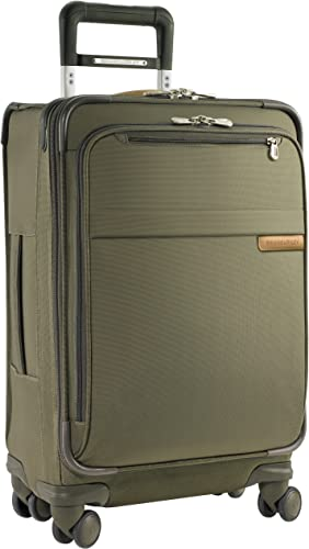 Briggs Riley Baseline-Softside Carry-On Spinner Luggage, Olive, 22-Inch