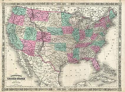 Vintage U.S. Map, 1866 - 42\