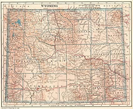 Amazon.com: 1926 Antique Wyoming State Map Original Vintage Map of ...