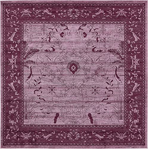 Unique Loom La Jolla Collection Tone-on-Tone Traditional Purple Square Rug 8 0 x 8 0