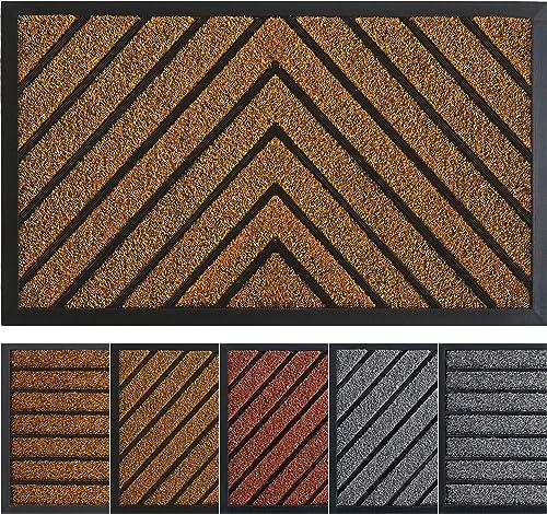 Extra Durable Door Mat – Brown Welcome Mat – Outdoor Rug – Front Door Mat Outdoor – Non-Slip Waterproof Thin Doormat Outdoor Doormat Indoor 30 x 18 – Inside Doormat and Back Door Mat – Rubber Door Mat