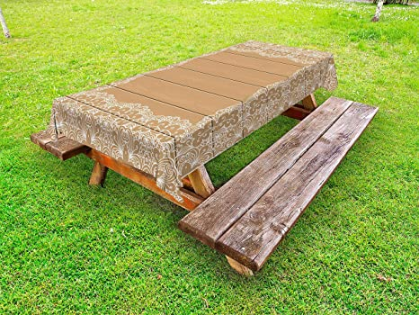 Amazon Com Lunarable Vintage Outdoor Tablecloth Wooden Plank With