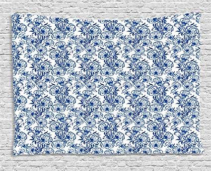 amazon com ambesonne blue tapestry, delicate spring season themedambesonne blue tapestry, delicate spring season themed floral pattern in traditional russian gzhel style,