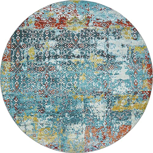 Unique Loom Baracoa Collection Bright Tones Vintage Traditional Blue Round Rug 8 4 x 8 4