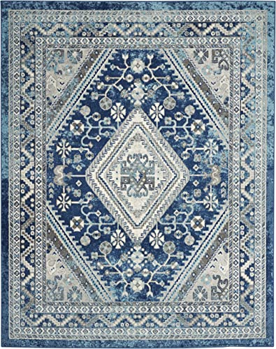 Nourison Persian Vintage 8 x 10 Bohemian Style Area Rug, Ivory Blue 7 10 X9 10