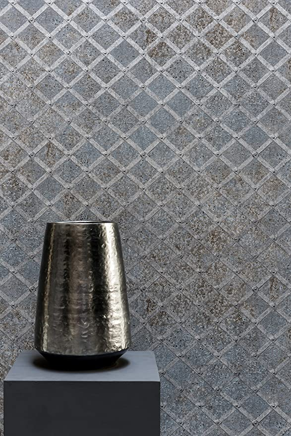Vliestapete Beton Blech Gitter Grau Silber Industrial metallic ...