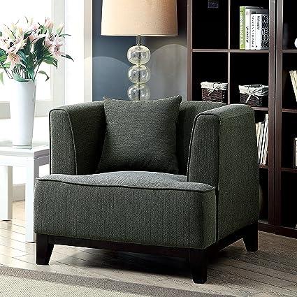 Furniture Of America Emmette Modern Tuxedo Style Arm Chair Grey