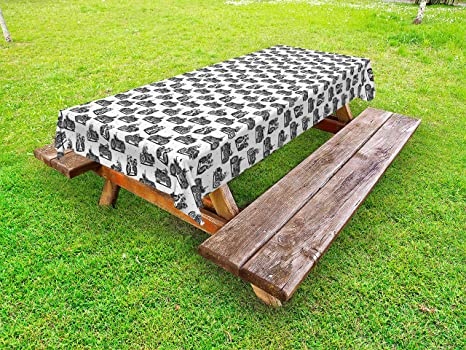 Wondrous Amazon Com Ambesonne Motorcycle Outdoor Tablecloth Retro Squirreltailoven Fun Painted Chair Ideas Images Squirreltailovenorg