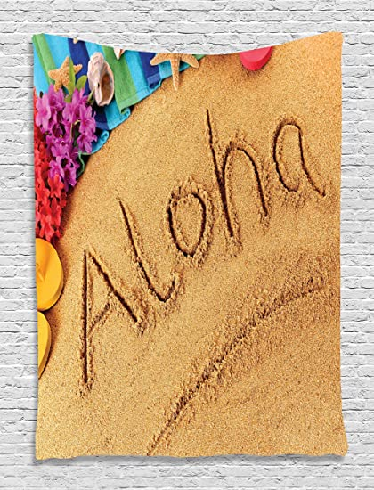 Aloha Beach Summer Vacation Memories Sunny Sand Flowers Home Decor Beach Hawaii Tapestry Wall Art for Bedroom Hanging Living Room Bedroom Dorm Decor, ...
