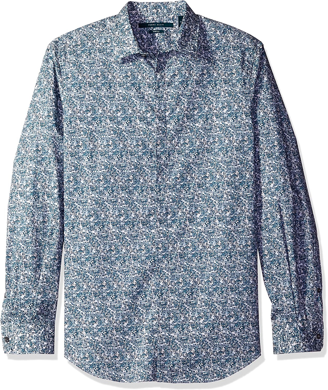 Perry Ellis Men's Regular Large-scale sale OFFicial shop Fit Stretch Shirt Stripe
