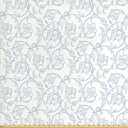Amazon Com Ambesonne Floral Fabric By The Yard Flower Orchids