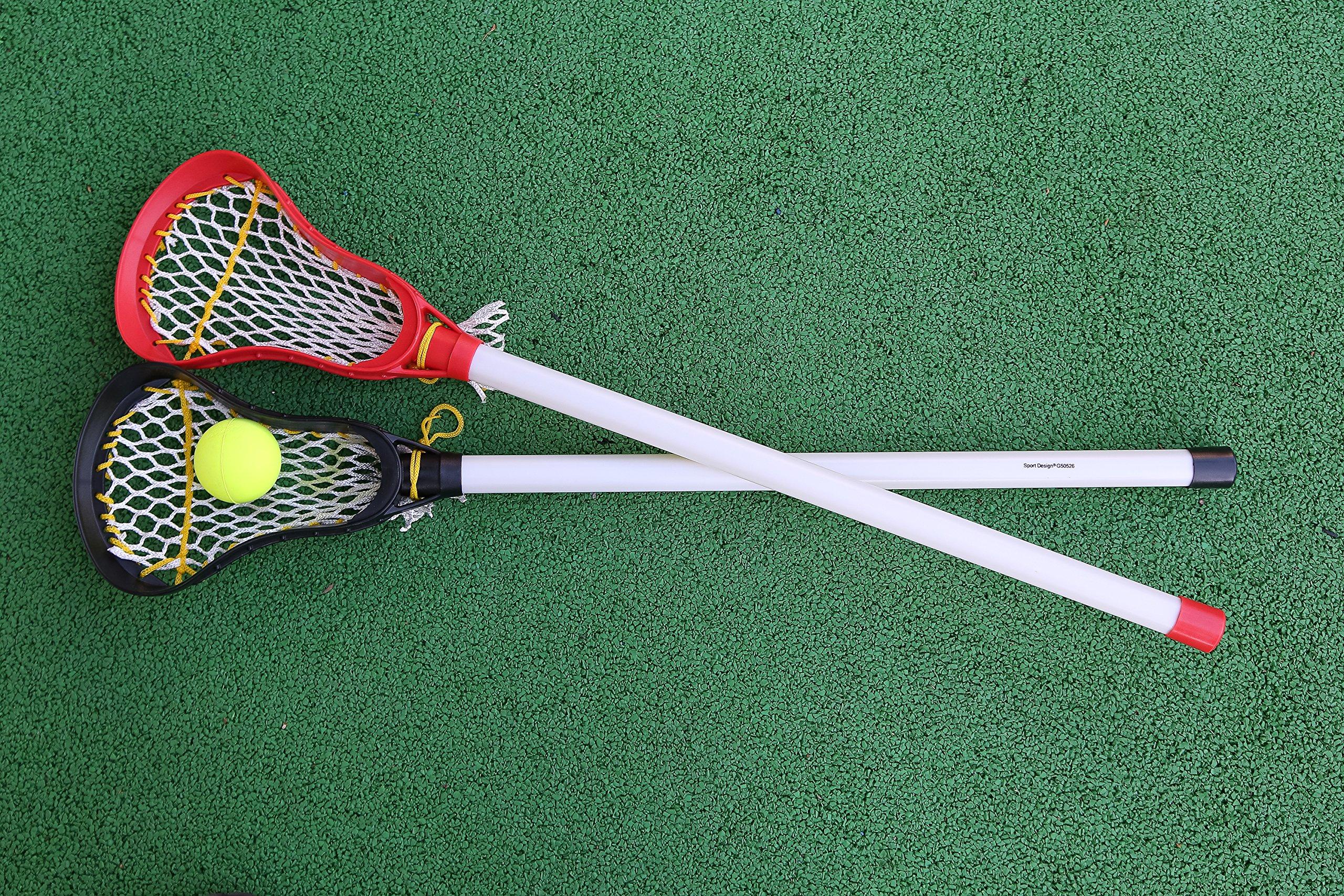 Kids Lacrosse Sticks - 2 Sticks (30 Inches) & 1 Ball - Soft Mesh Pockets, Durable Plastic Handles, & Large Head Design by Junior Lacrosse (Image #6)