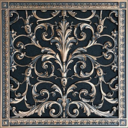 """Decorative Vent Cover, Grille, Return Register, made of Urethane Resin, in  French style fits over a 16""""x 16"""" duct opening  Total size, 18"""" by"""