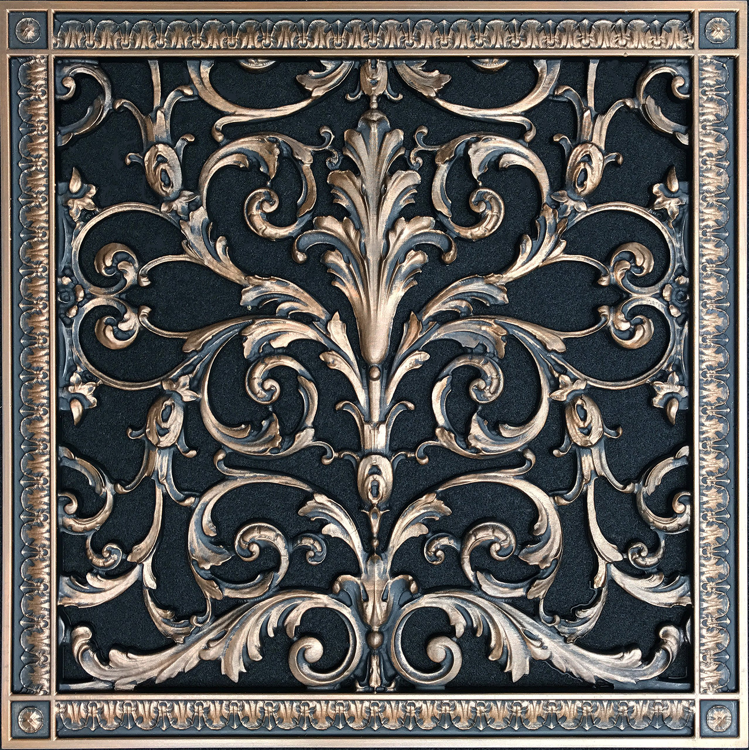 "Decorative Vent Cover, Grille, Return Register, made of Urethane Resin, in French style fits over a 16""x 16"" duct opening. Total size, 18"" by 18"", walls & ceilings only(not for floors) (Rubbed Bronze) by Beaux-Artes, Ltd. (Image #1)"