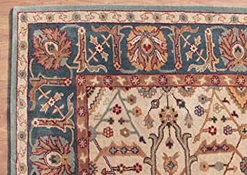 Buy Persian Style Eva Cream Blue Handmade 100 Wool Area Rug Carpet Online At Low Prices In India Amazon In