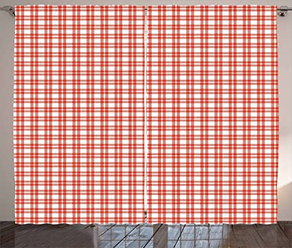 Amazon.com: Plaid Curtains by Ambesonne, Colored and Checkered ...